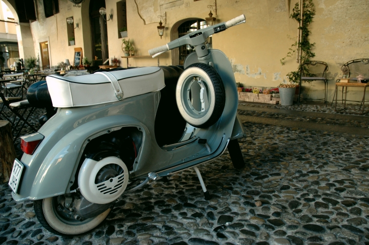 a perfectly restored Vespa in Treviso