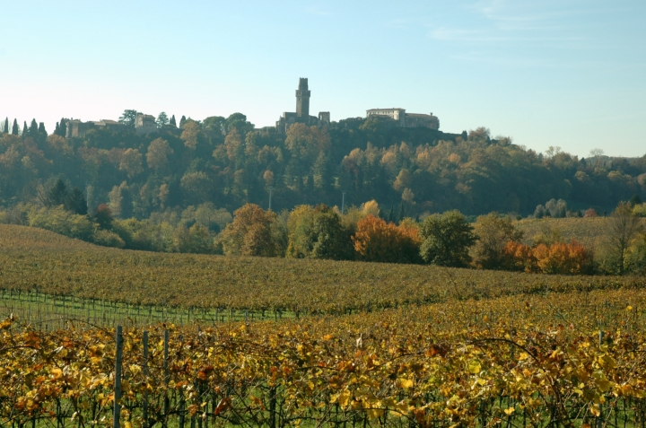 The Castello di San Salvatore watch the valley of Piave river from the first hills of the Prosecco DOCG
