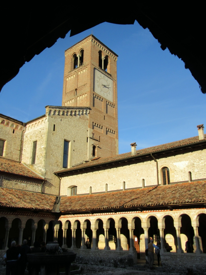The bell tower of Follina Abbey, from the cloister